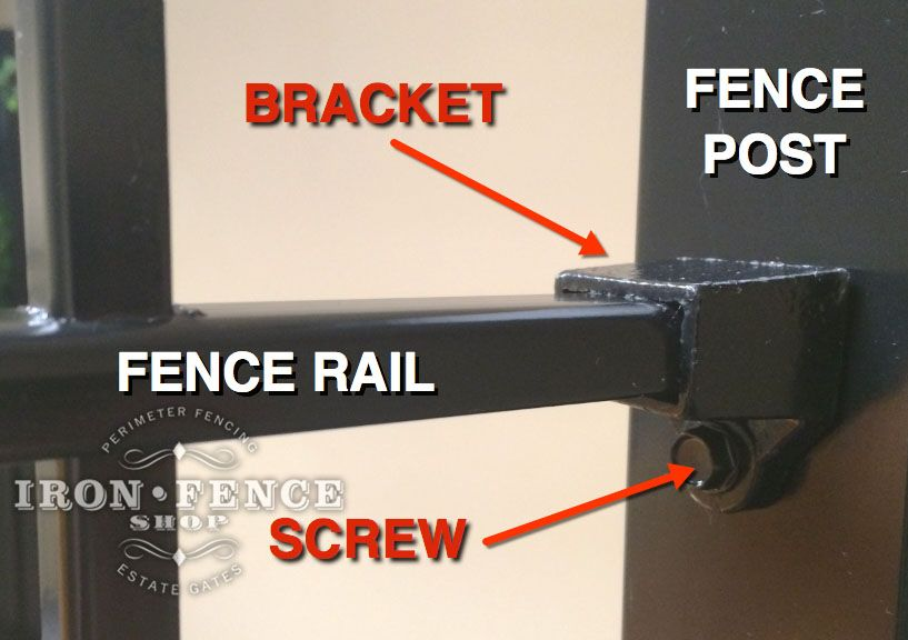 Close Up Of The Wrought Iron Fence Bracket And Self Tapping Screw