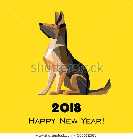 2018 happy new year greeting card celebration yellow background 2018 happy new year greeting card celebration yellow background with dog german shepherd and place m4hsunfo