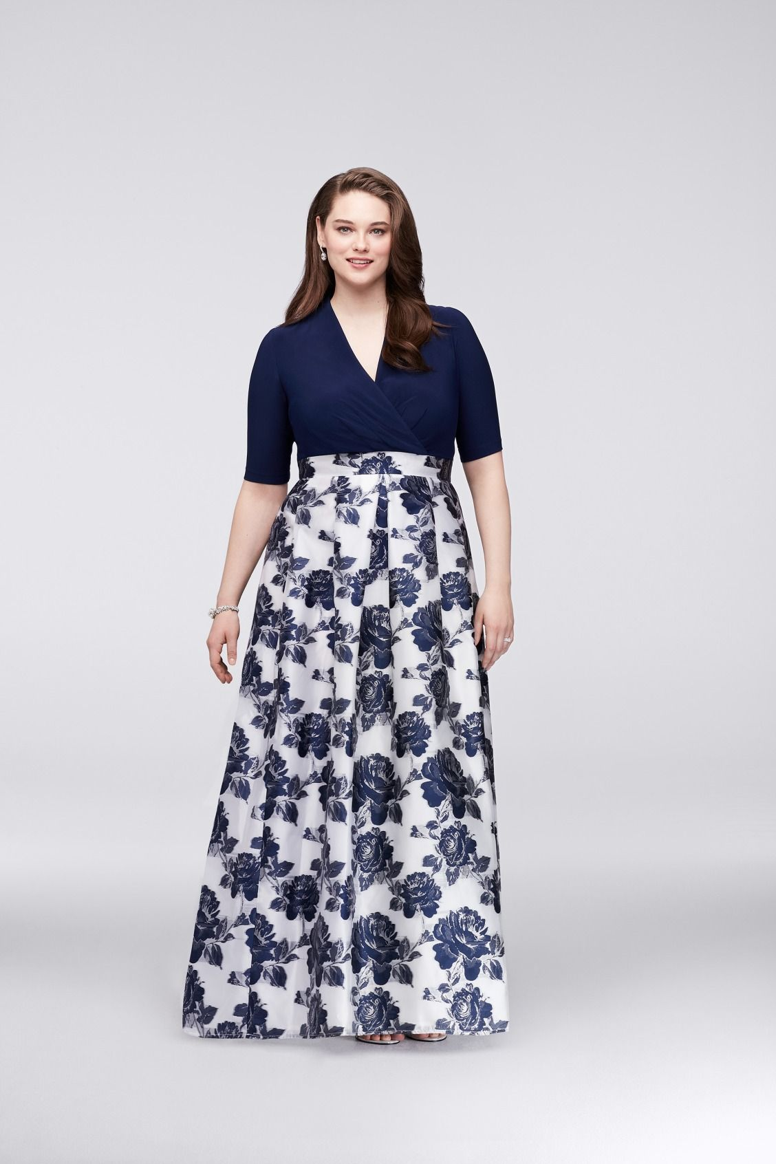 Floral Navy Surplice Plus Size Ball Gown Mother of the Bride dress or  Mother of the Groom dress with Jacquard Skirt available at David s Bridal ccb98e3b3144