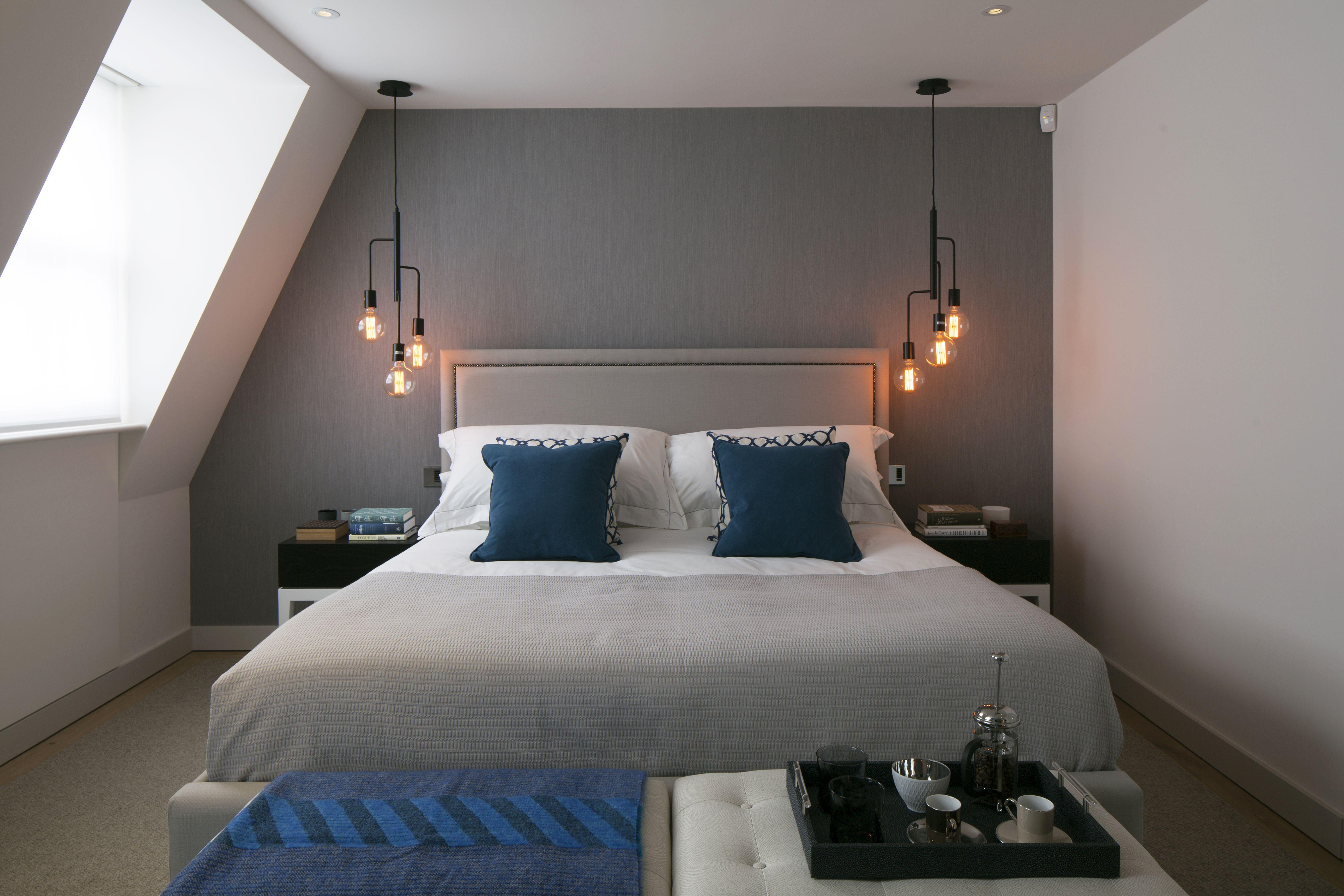 master bedroom grey silk wallpaper bedside pendant