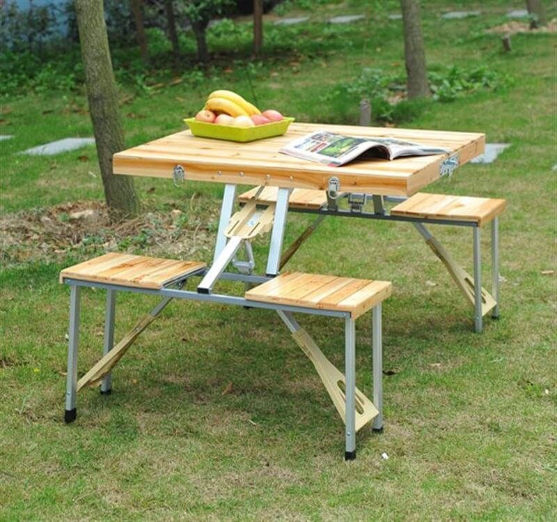 Outsunny Portable Folding Wooden Outdoor Camp Suitcase Picnic Table W 4 Seats Source