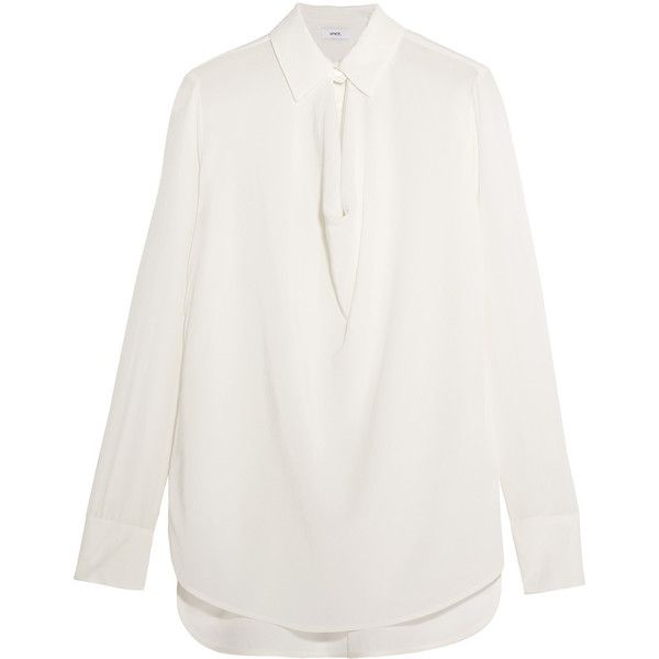 Vince Draped silk-chiffon blouse (10.790 RUB) ❤ liked on Polyvore featuring tops, blouses, keyhole blouse, vince tops, loose fitting tops, drape front blouse and white loose blouse