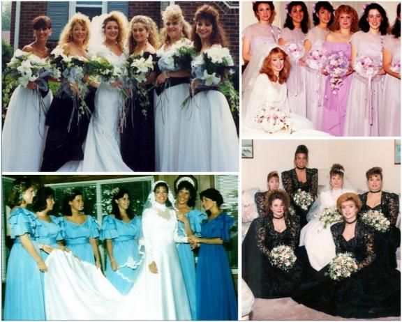6528881718b1 Ugly bridesmaid dresses in the '80's- big hair, black and white, bright  colors