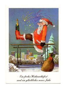 weihnachtskarten ddr alte ak postkarte weihnachtsmann sektflasche weihnachten ddr ebay. Black Bedroom Furniture Sets. Home Design Ideas