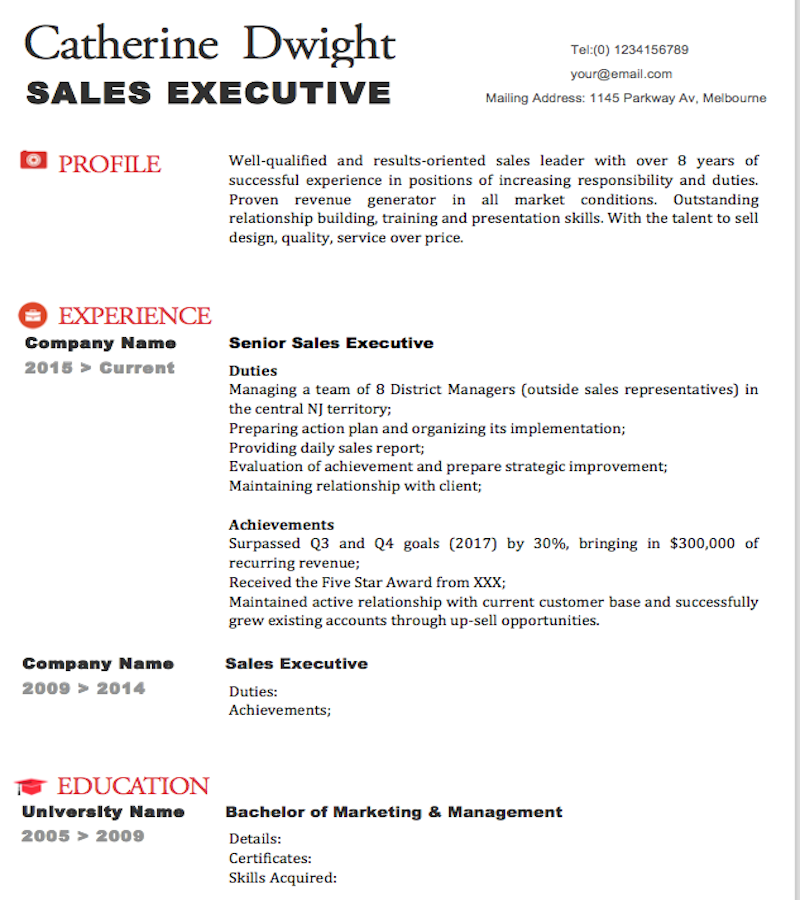 resume template for job application 2018 Presentation