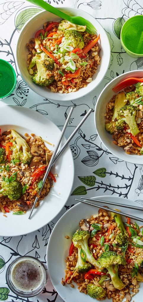 Save time cooking to make time for family with this quick and easy farro stir-fry! With the farro cooked and veggies chopped ahead of time, the meal comes together in just 15 minutes.