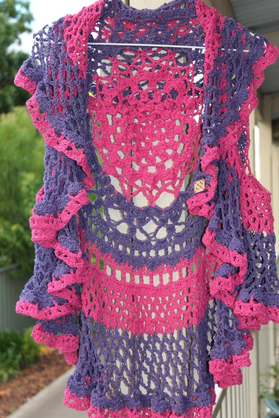 Pink Purple Lace Circle Vest Recycled Denim Eco Friendly Bright