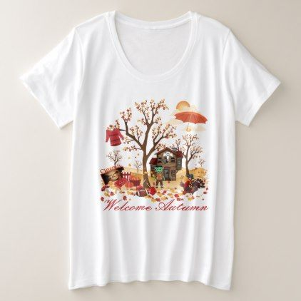 Welcome Autumn Fall Scenery Plus Size T-Shirt | Zazzle.com #fallscenery