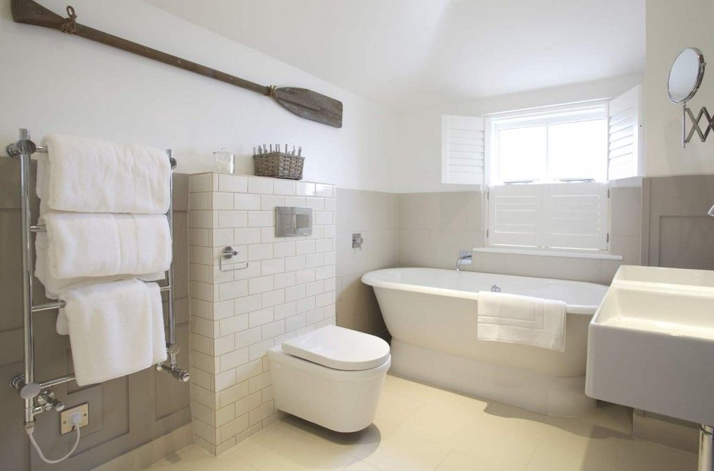Contemporary Country Neutral Palette Bathroom With Heated Towel Rail Freestanding Tub And Shutters Luxury Small Large Bathrooms Small Hotel Bathroom Design