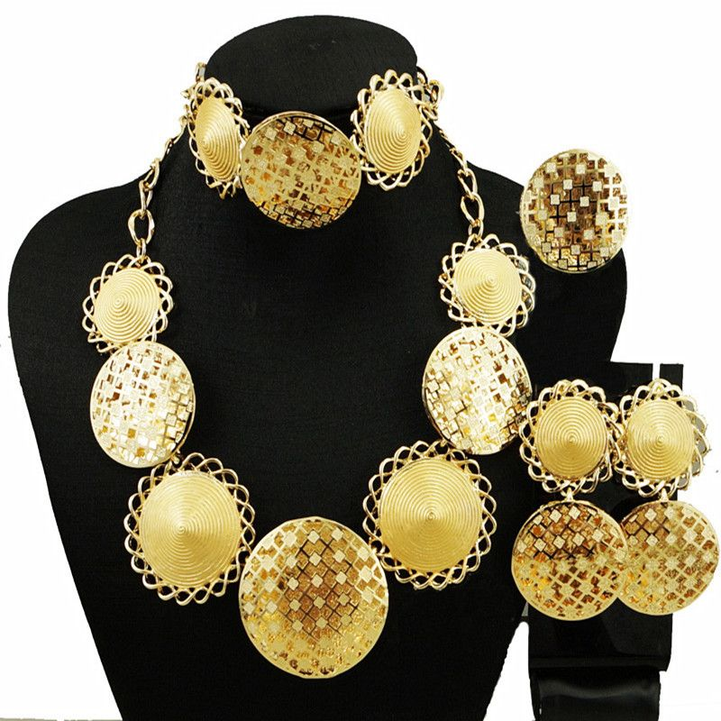 women gold plated jewelry set fashion necklace women wedding big