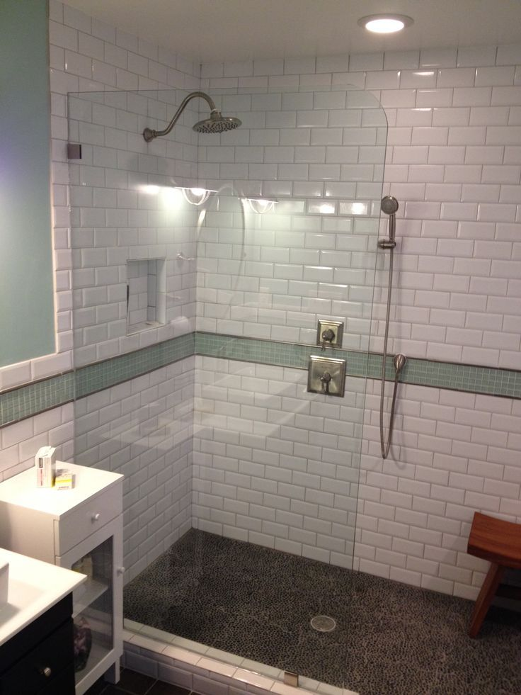 A little-used linen closet became a shower stall lined with subway ...