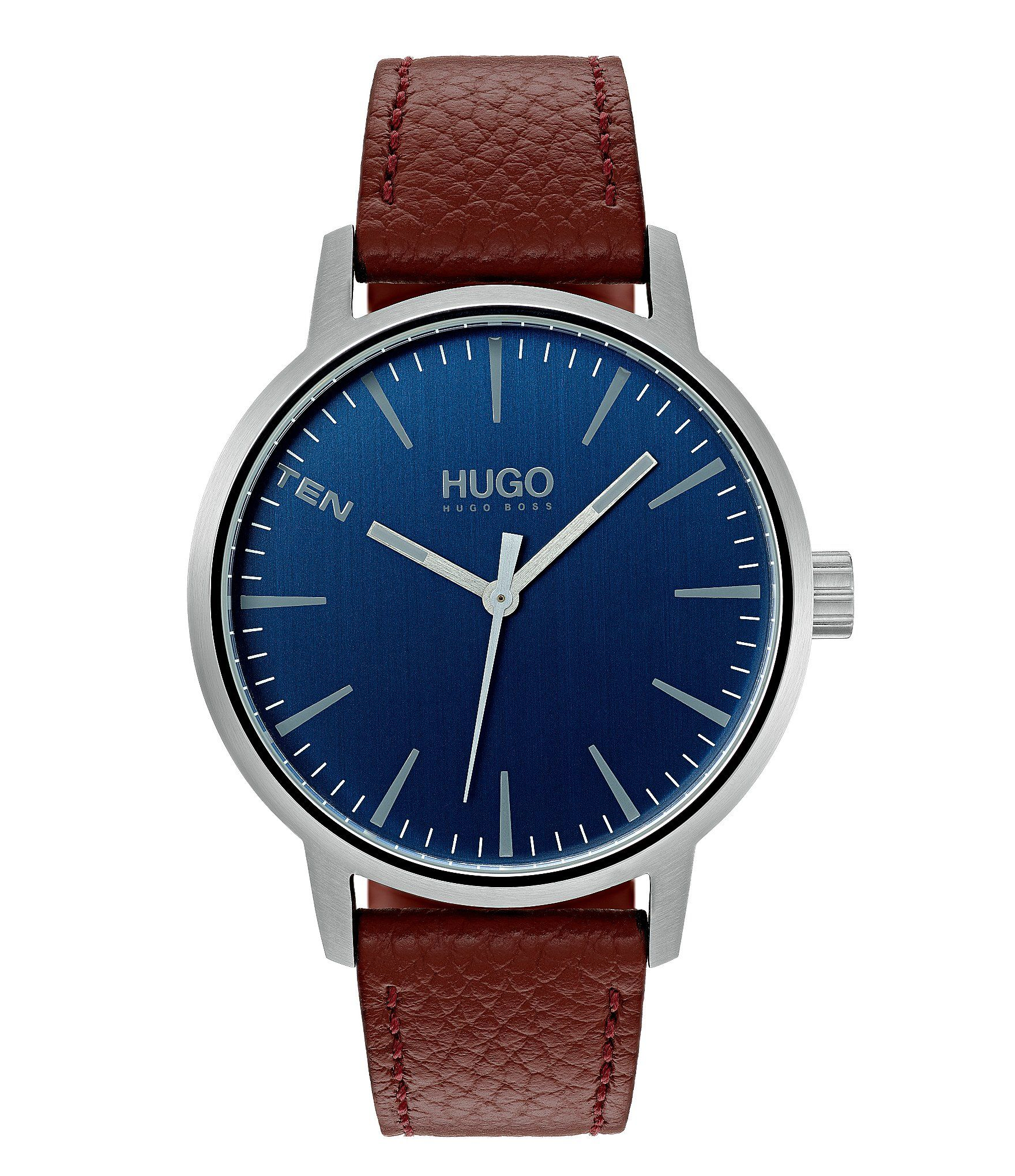 Photo of HUGO HUGO BOSS Stand Brown Leather Watch – Silver