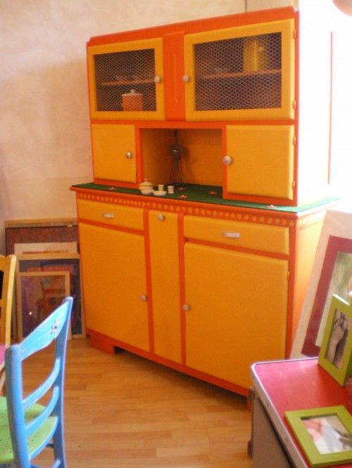 Buffet vintage 60 39 orange restored old furniture for Meuble cuisine 1950