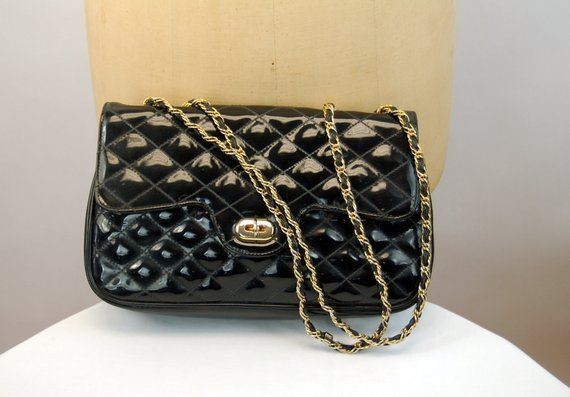 b97be06020 1980s purse black patent leather quilted with chain strap Di Benito ...