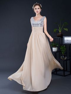 Pailletten Kleid rückenfrei a-Linie Chiffon bodenlangen Homecoming Kleid