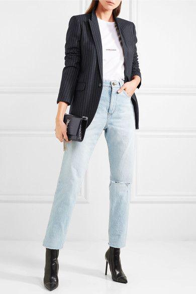 ef1a5f3c085 SAINT LAURENT stylish Pinstriped wool-twill blazer in 2019