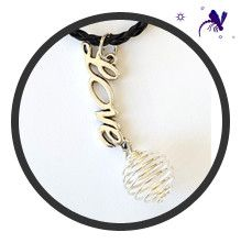 Leather Necklace with Love Charm and Crystal  Cage dragonflymoons.ca