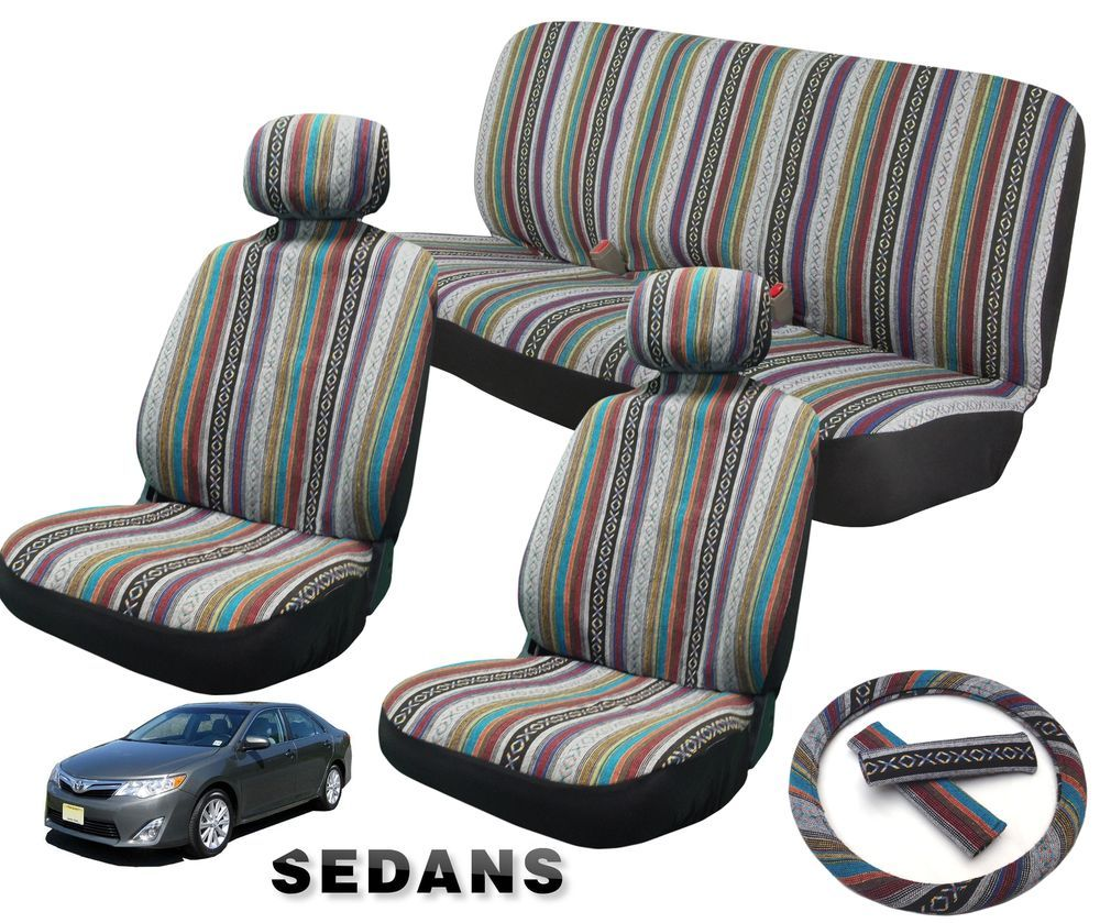 Baja Inca Saddle Blanket Front Bench Steering Wheel Seat Covers 11pc For Sedans Fits