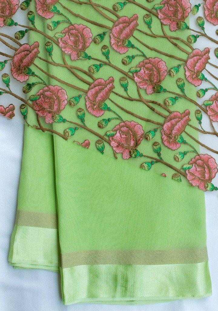 2439cfdaf8f552 Parrot green saree with net blouse piece   The Sari   Net blouses ...