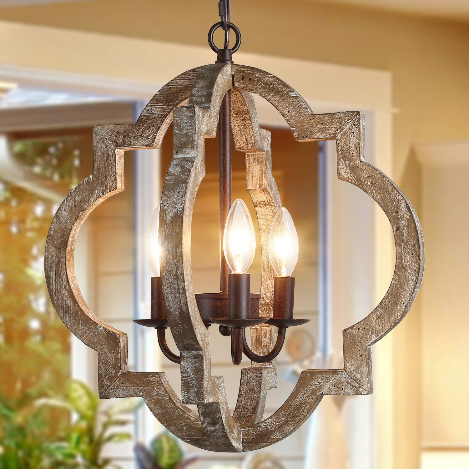 Farmhouse 3lights chandelier with latern for kitchen