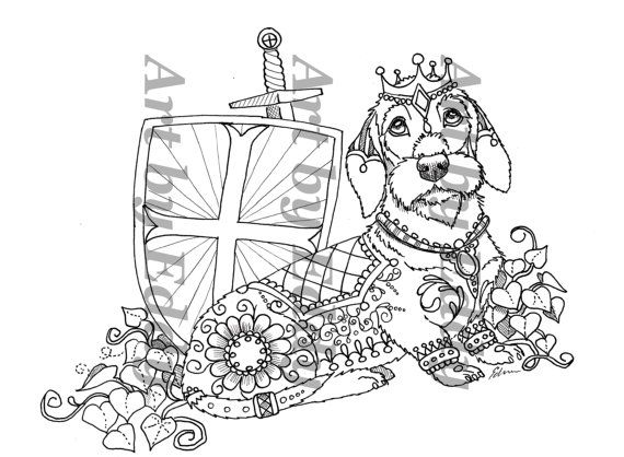 Coloriage Chien Teckel.Art Of Dachshund Coloring Book Volume No 2 Physical By Artbyeddy