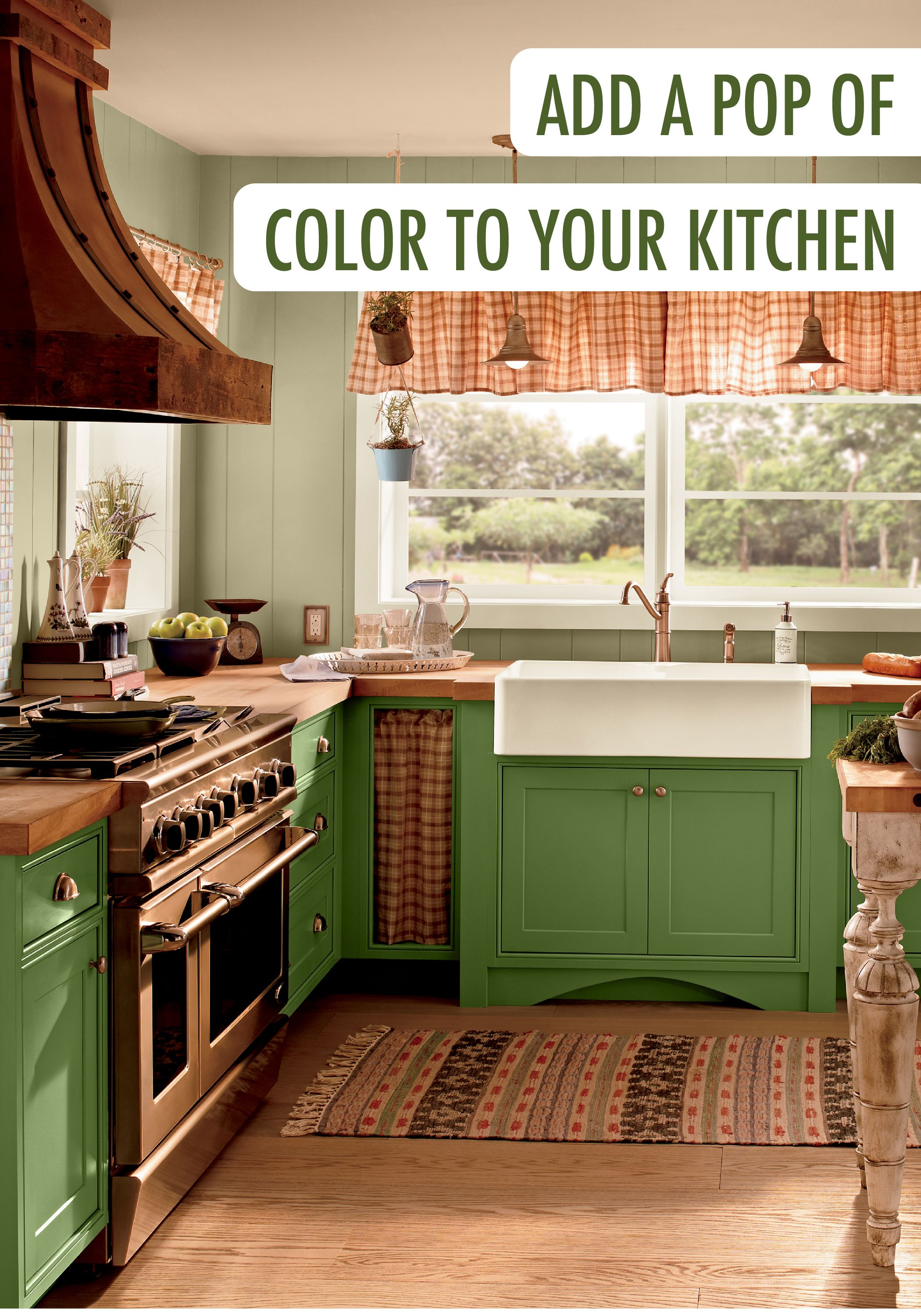 Add A Pop Of Color To Your Kitchen In An Unexpected Wayu2014with BEHR Paint In  Park Picnic On The Cabinets! To Finish Off This Unique Home Improvement  Project, ...
