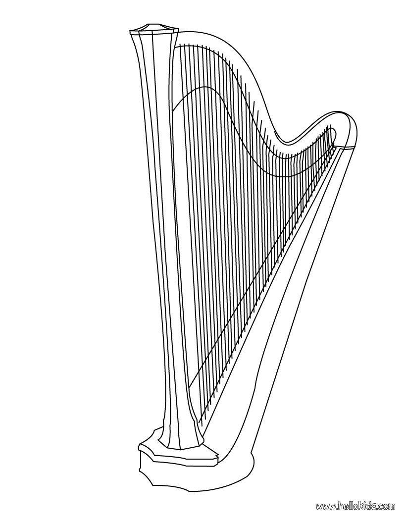Harp Coloring Page Coloring Pages Harp Color