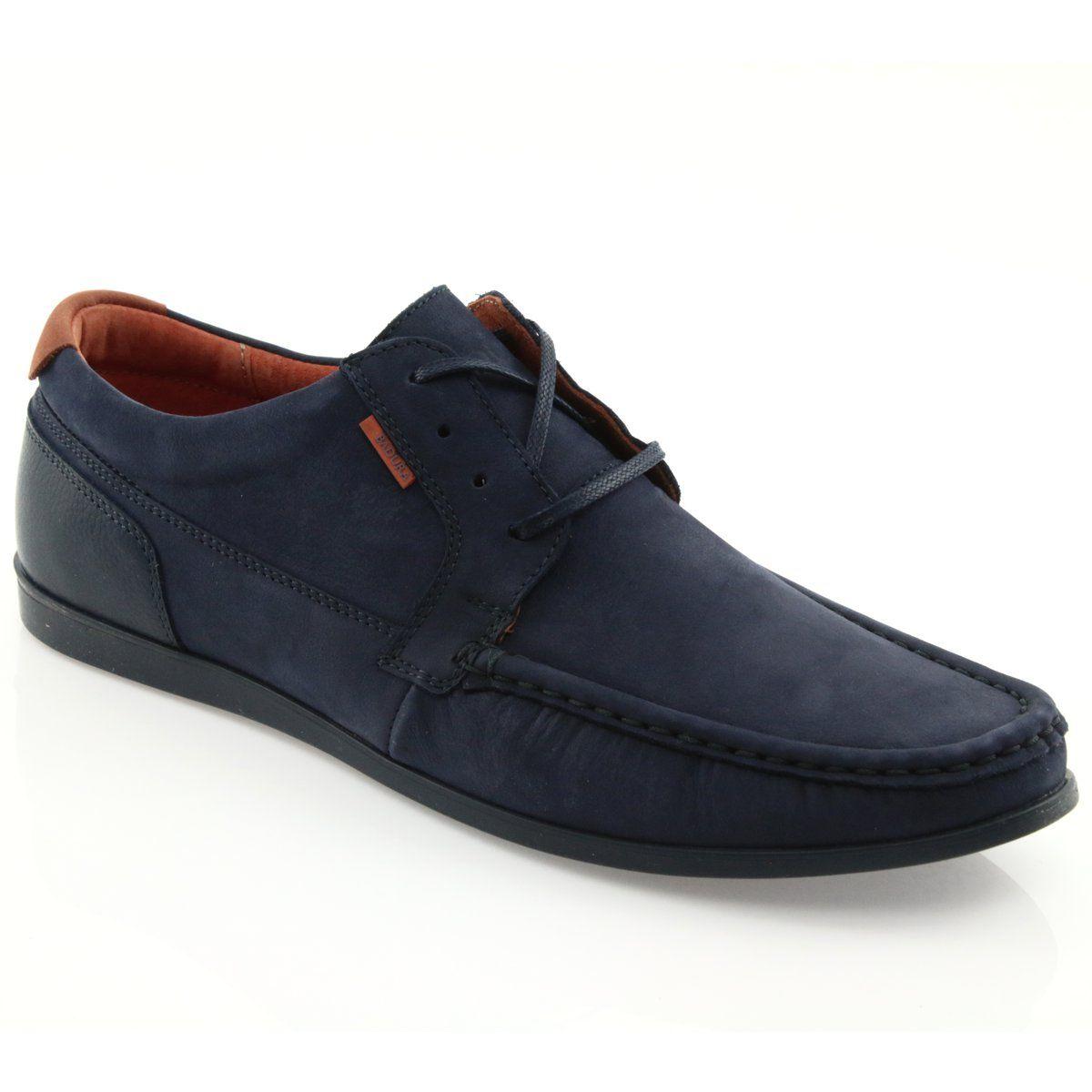 Badura Mokasyny Wiazane 3175 Granatowe Pomaranczowe Dress Shoes Men Dress Shoes Oxford Shoes