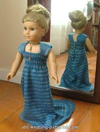 American Girl Doll Evening Dress with Train - free knitting pattern #bedfalls62 American Girl Doll Evening Dress with Train - free knitting pattern #bedfalls62