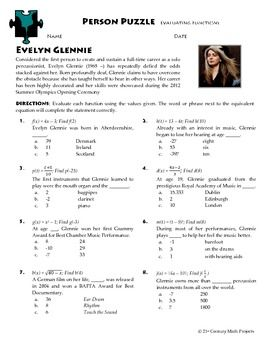 Person Puzzle Evaluating Functions Evelyn Glennie Worksheet