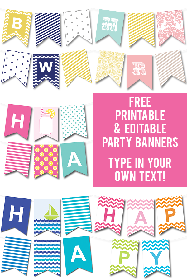 lots of free printable party banners from chicfetti you can make