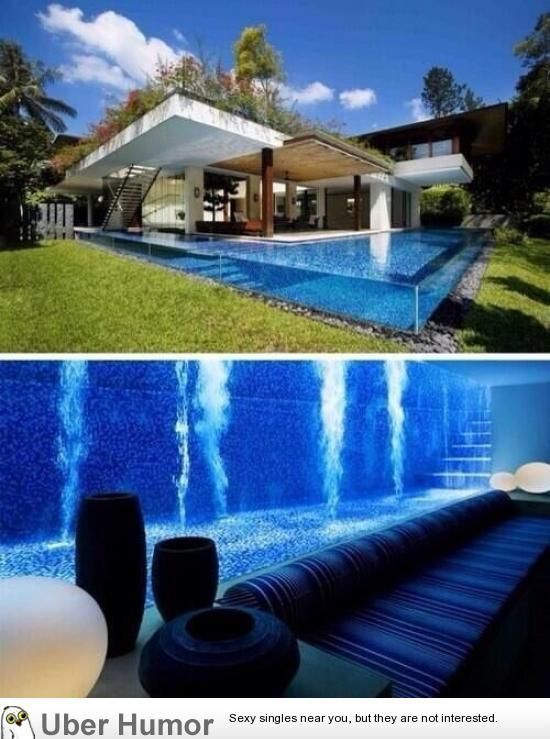Amazing Glass Pool Going All The Way To Underground People Can Relax And Watch