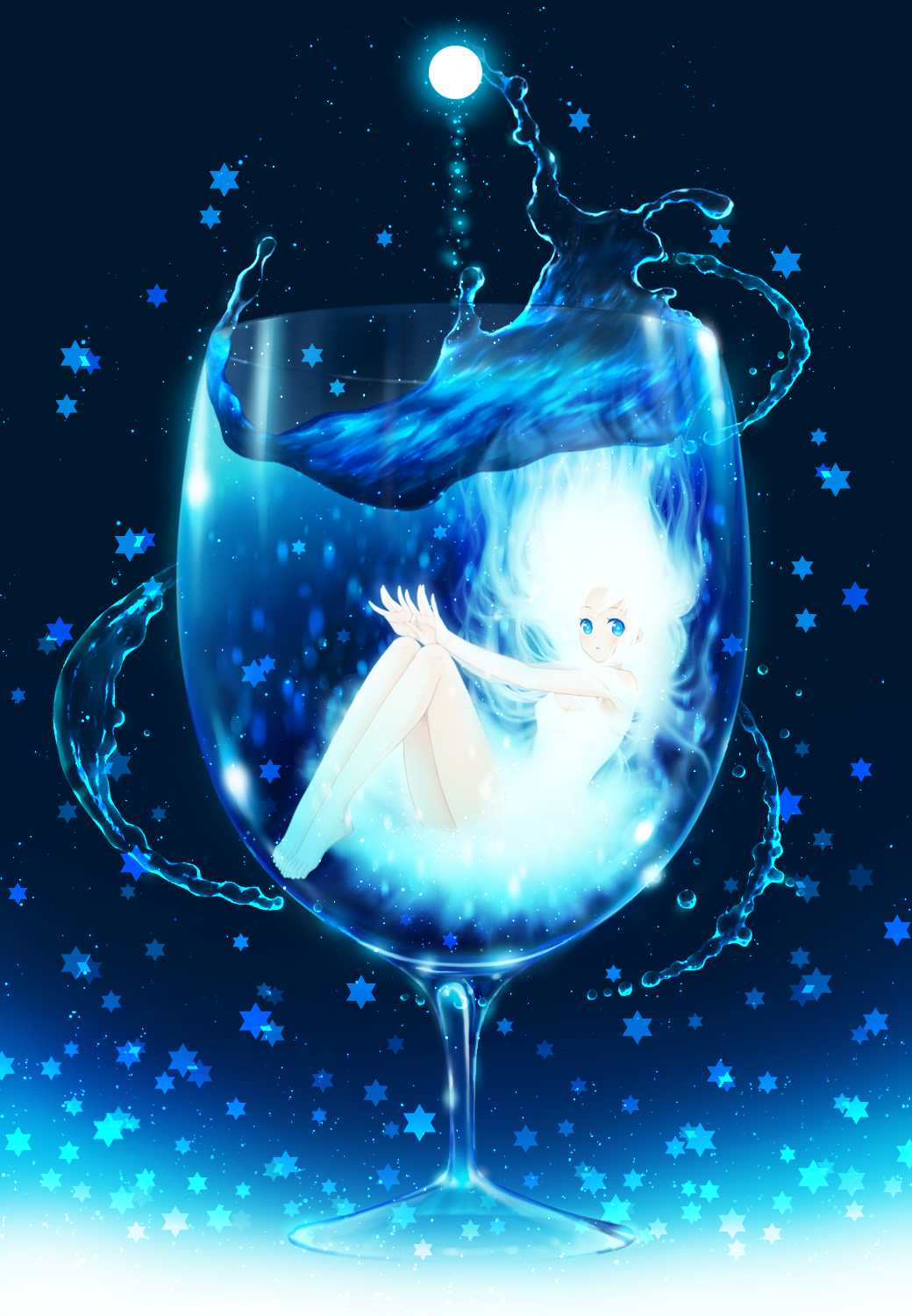 Anime girl in glass of water