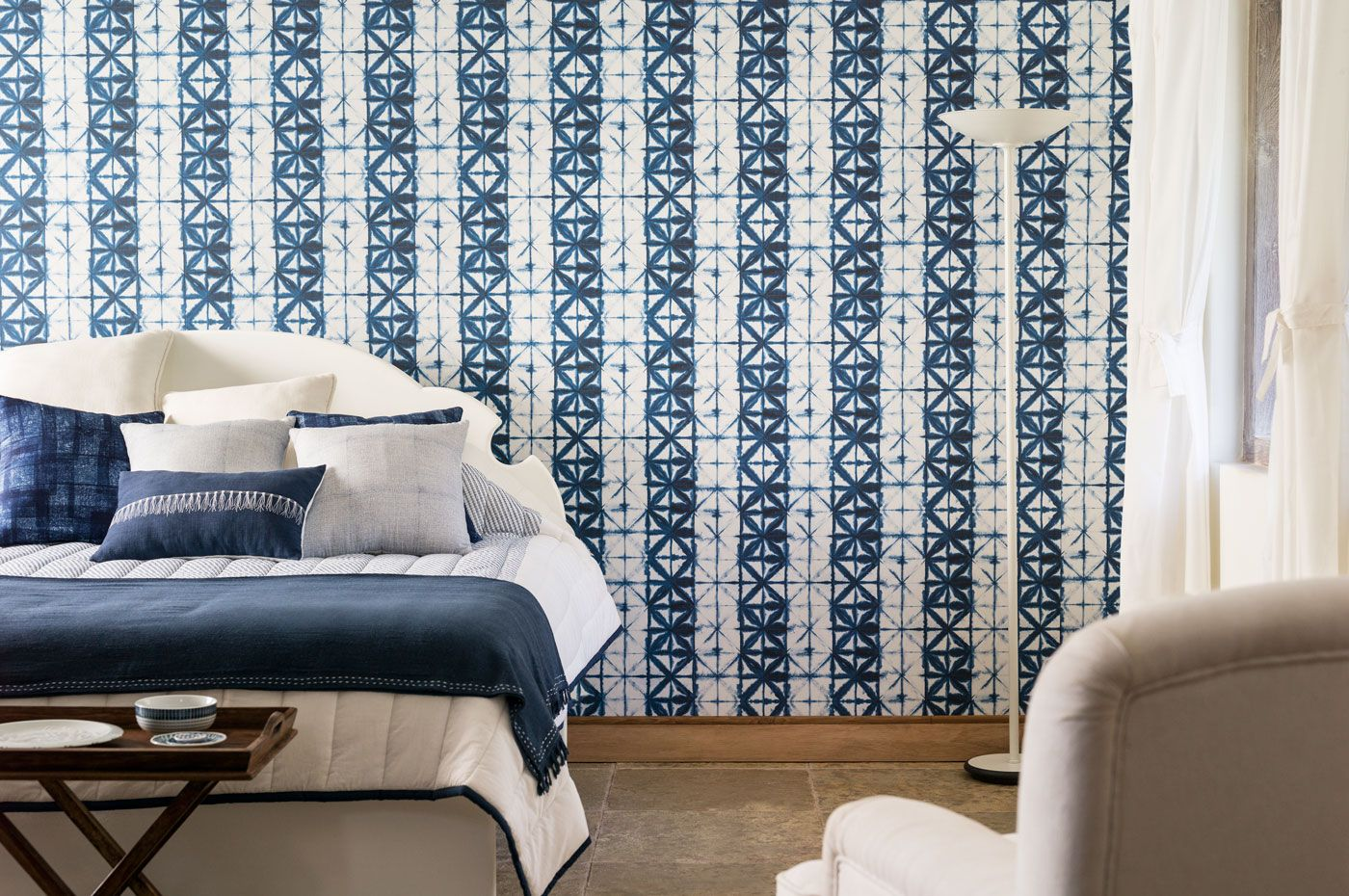 Work the white and indigo with furnishings and wallpaper