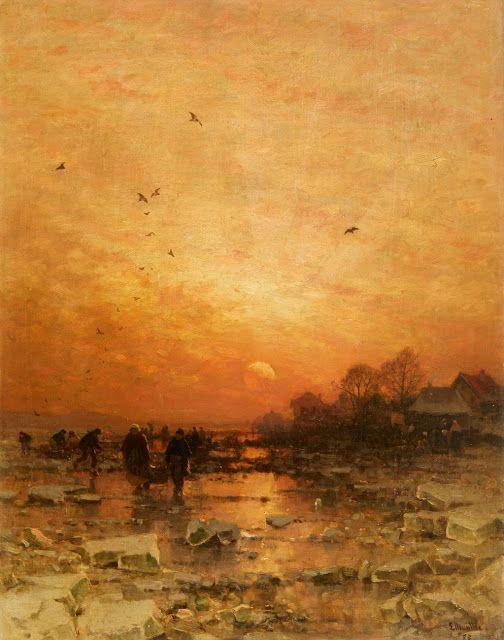 Ludvig Munthe (1841-1896), Paysage Hivernal au Soir - 1885