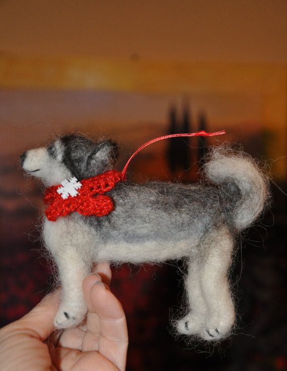 Needle Felted Husky Dog Puppy Christmas Ornament Www Etsy Com Shop Name Creationsfrompassion With Images Christmas Puppy Felt Christmas Ornaments Dog Ornaments