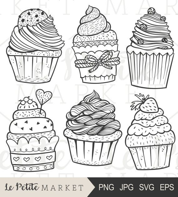 Hand Drawn Cupcake Clip Art Cute Cupcake Clipart Hand Drawn Etsy Cupcake Illustration How To Draw Hands Clip Art