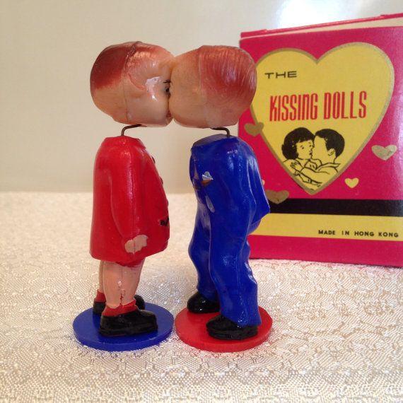Vintage Celluloid Magnetic Kissing Dolls 1950 S Bobblehead