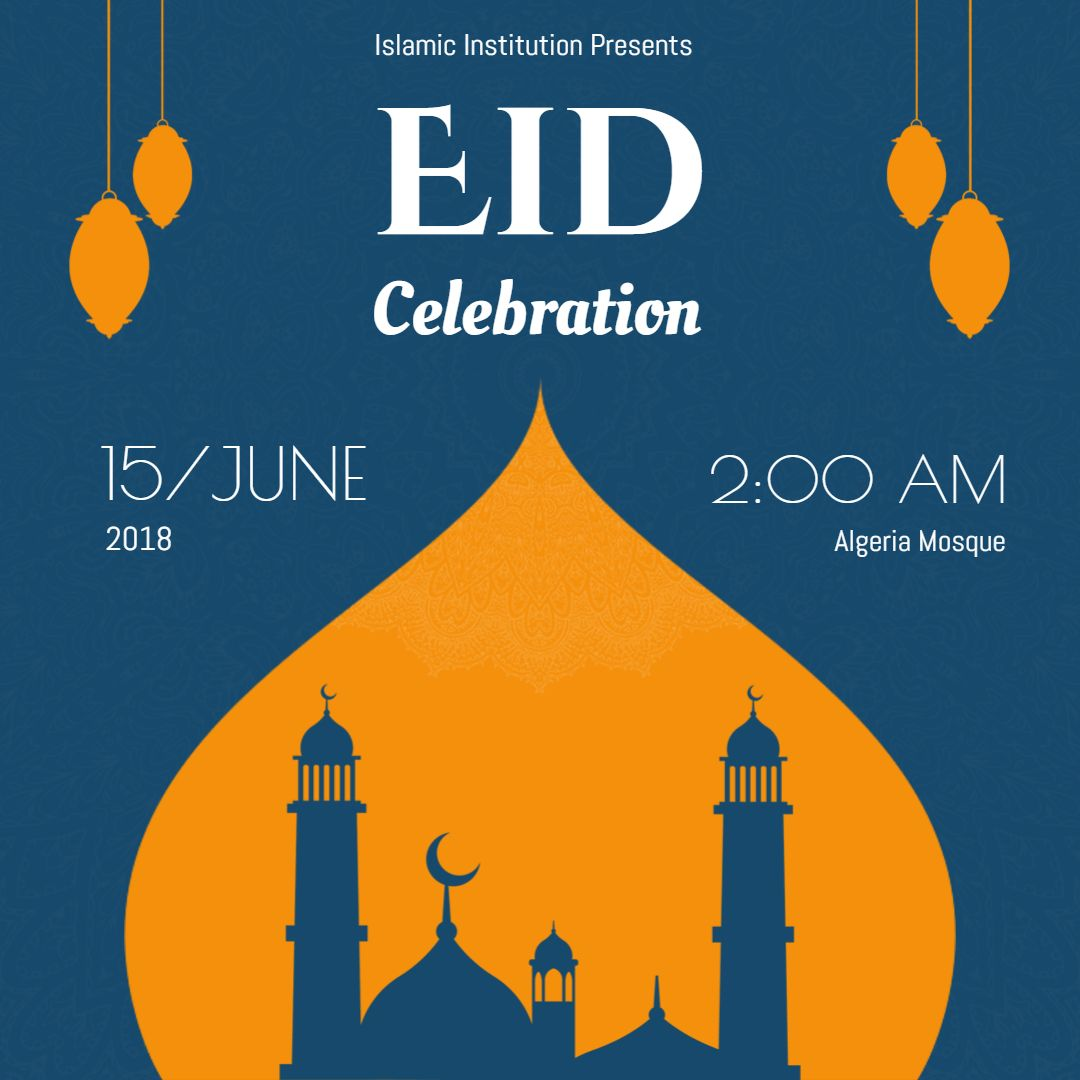 Eid Ul Azha Instagram Ad Invitation Template Blue Eid Party