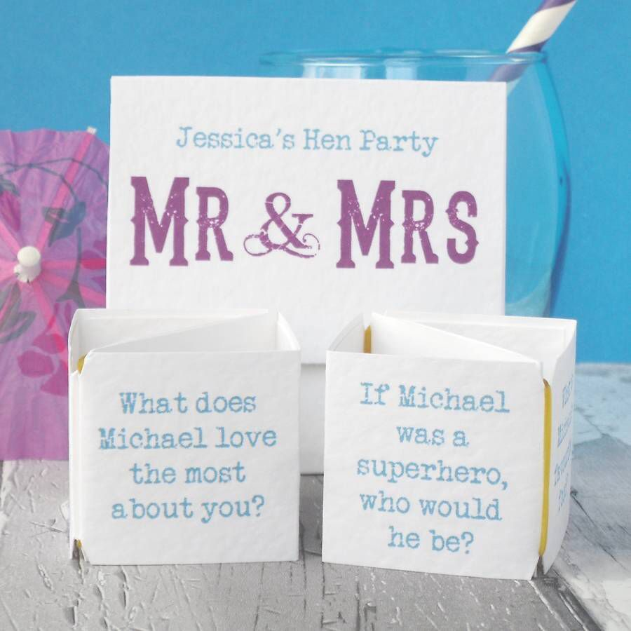 Personalised Hen Party 'Mr And Mrs' Game In 2019