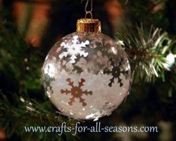 Plastic Ball Ornament Decorating Ideas Decorate A Plastic Ball Ornament With Imitation Snow And Snowflake