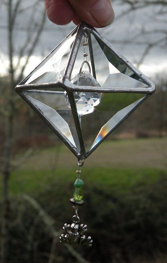 3D Beveled  stained glass suncatcher with clear by ravenglassgirl, $25.00