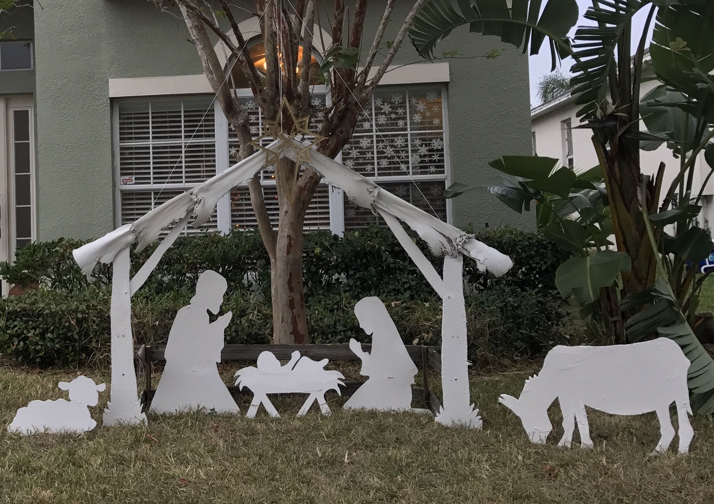 Nativity Silhouette Outdoor Christmas Display Diy Painted Plywood Palm Tree Ro Outside Christmas Decorations Christmas Yard Decorations Outdoor Christmas Diy