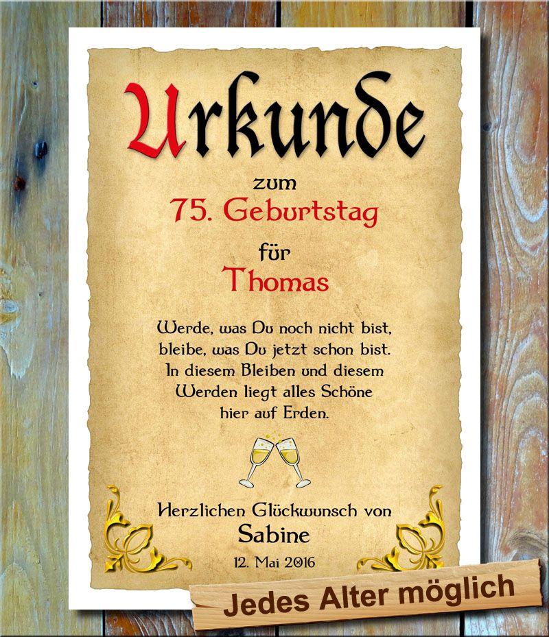 Urkunde 75 Geburtstag Goldecken Ein Hochwertige Urkunde