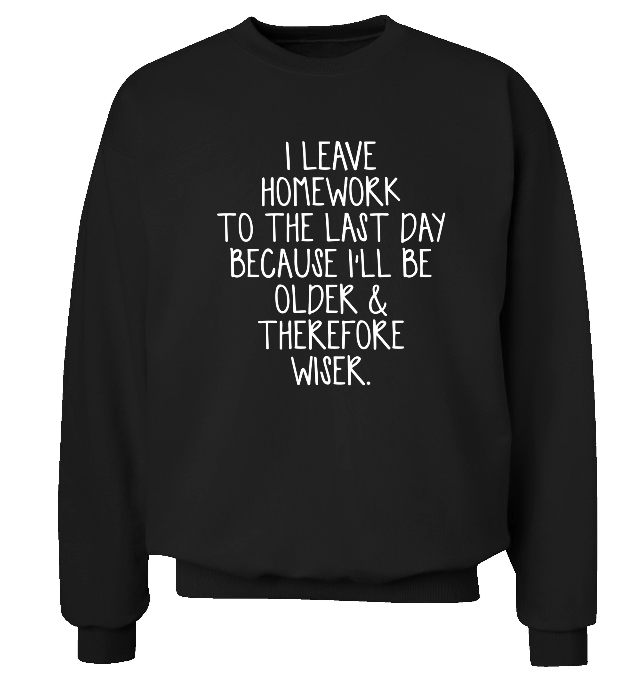 I leave homework to the last day because I'll be older and therefore wiser sweatshirt joke funny tumblr instagram hipster gift quote slogan jumper 220