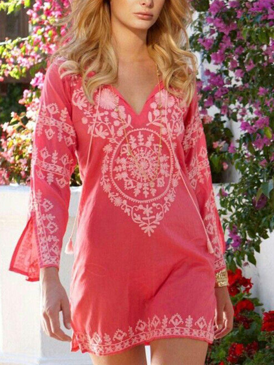 Justfashionnow Sundress 1 Boho Dresses Holiday V Neck 3 4 Sleeve Holiday Printed Dresses Fashion Boho Fashion Beachwear [ 1200 x 900 Pixel ]