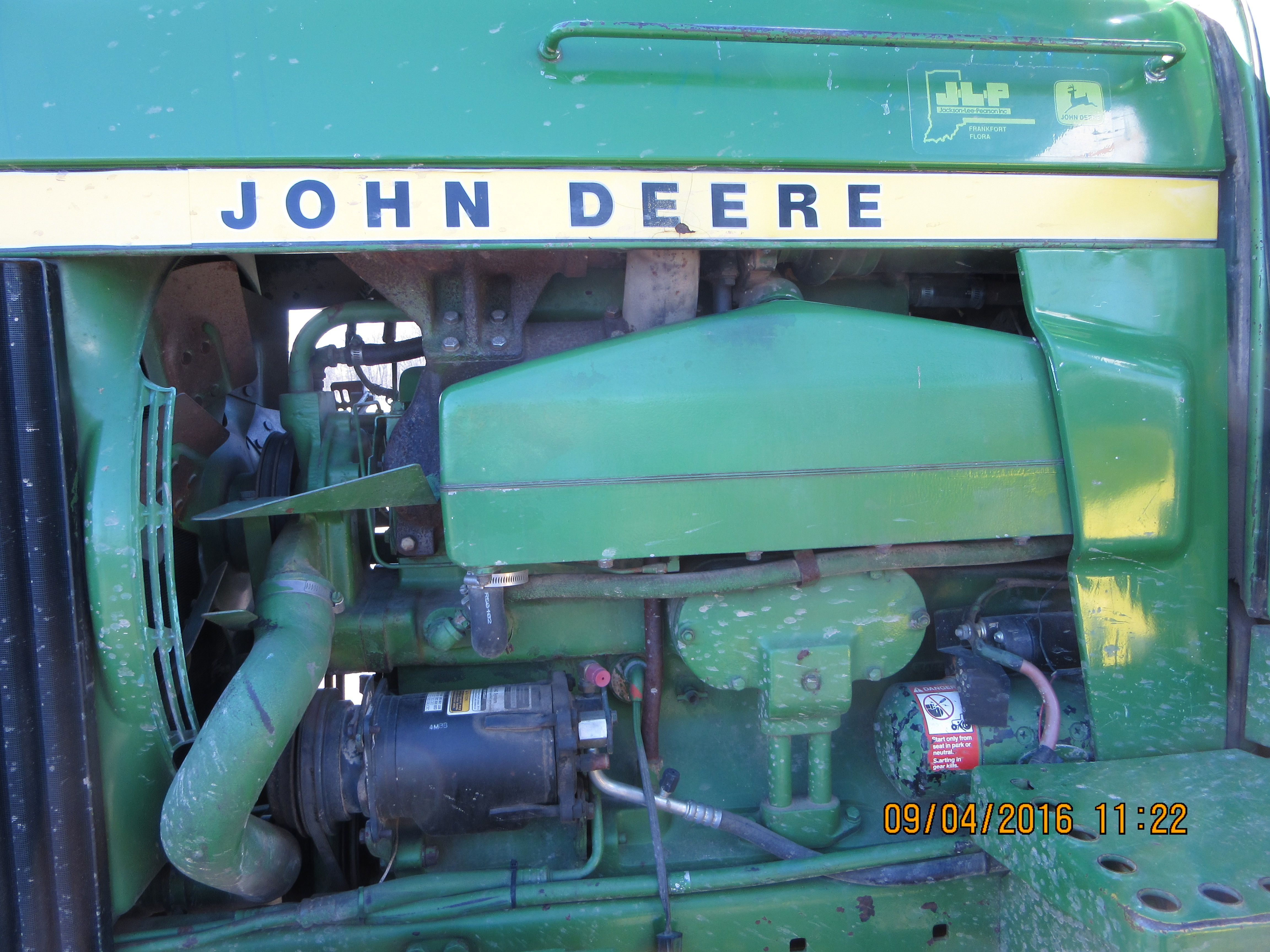 Intercooler on John Deere 4630 404 cid diesel engine.The 150 hp 4630 was  the 5th JD tractor to get a intercooler