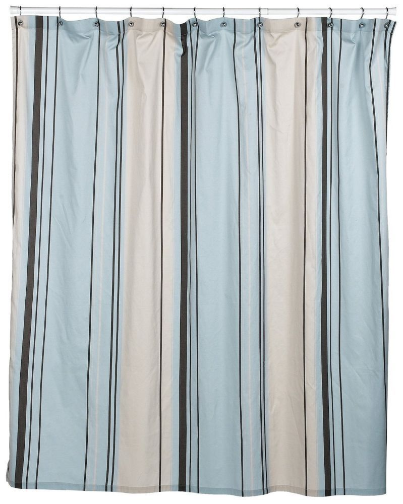 Nautica West End Blue Brown Beige Striped Fabric Shower Curtain NWOP  #Nautica #Contemporary