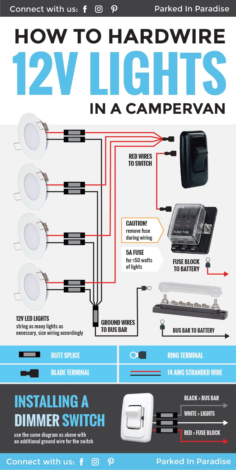 great diagram that explains exactly what you need to know about hardwiring 12 volt lights this is perfect for any campervan or rv interior  [ 760 x 1516 Pixel ]