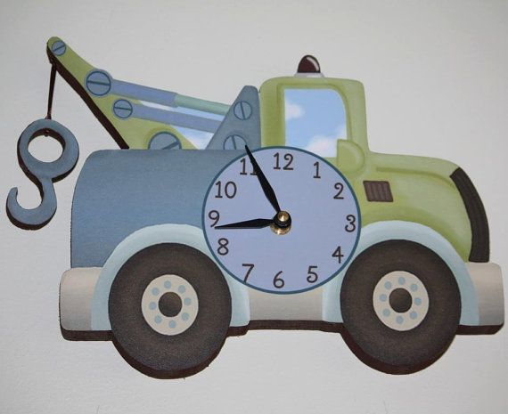 Tow Truck Transportation Boys Wooden WALL CLOCK for Kids Bedroom ...